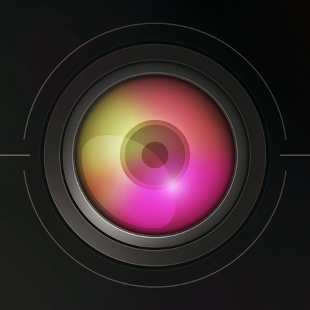 dispersion: Illustration of stylized camera lens with dispersion. Color 3.