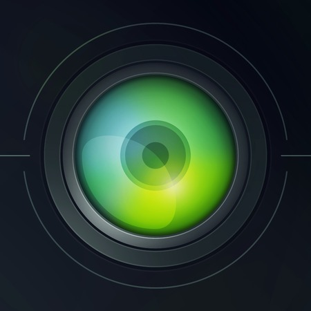 dispersion: Illustration of stylized camera lens with dispersion. Color 2. Stock Photo