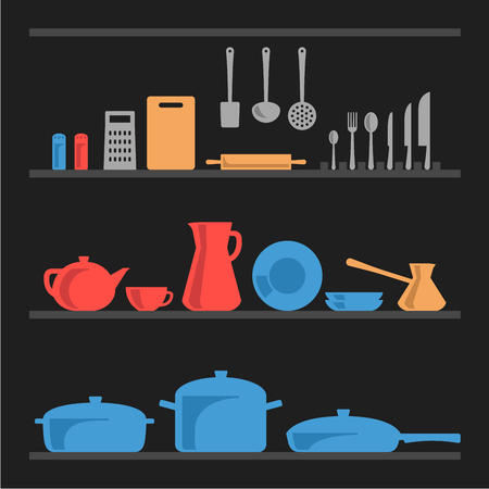 dinnerware: A few shelves with different types of kitchenware