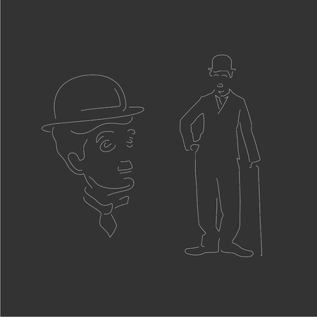 Vectorized monochrpmatic portraits of the actor Charlie Chaplin