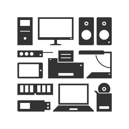 speakers desk: Computers, devices and office equipment. Pattern illustration.