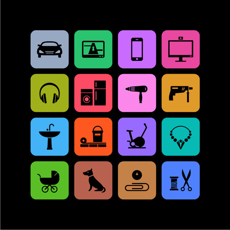 categories: 16 icons of different products categories for online shops