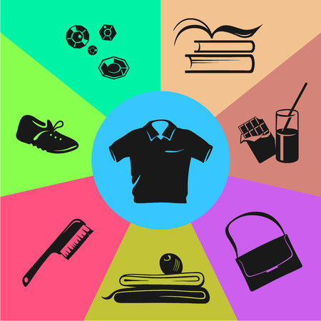 sport wear: Illustration of sport wear, nutrition and accessories