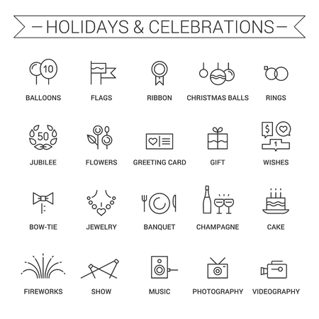 torte: Icons of holidays and celebrations in linear style. Black. Illustration