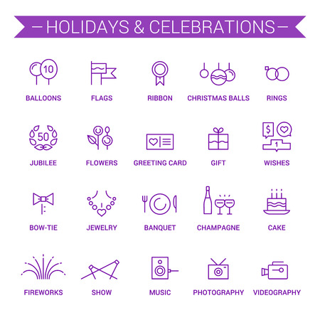 torte: Icons of holidays and celebrations in linear style. Violet.