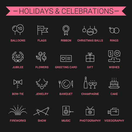 torte: Icons of holidays and celebrations in linear style. White and pink.