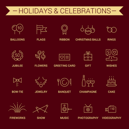 Icons of holidays and celebrations in linear style. Yellow and cherry.