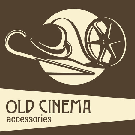silent film: Old cinema accessories. Hat, stick and film.