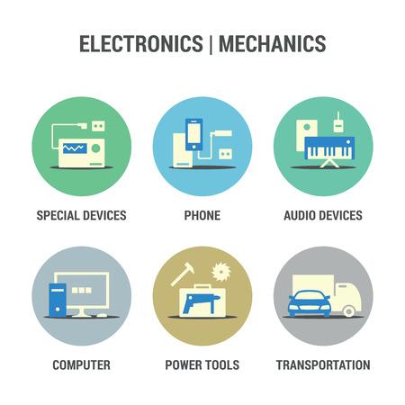 cabel: Icons set of electronics and mechanics area.