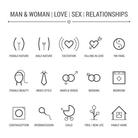 Man and woman. Love, sex, relationships. Icons set.