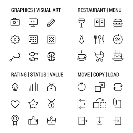 visual art: Icons sets: graphics and visual art, restaurant and menu, rating and status, move and copy.
