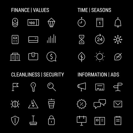 cleanliness: Icons sets: finance and values, time and seasons, cleanliness and security, information and ads.