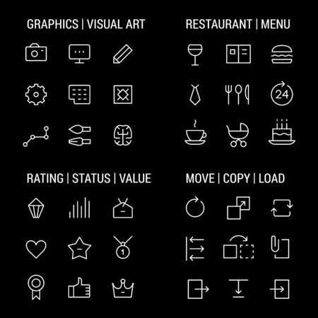 restaurant rating: Icons sets: graphics and visual art, restaurant and menu, rating and status, move and copy.