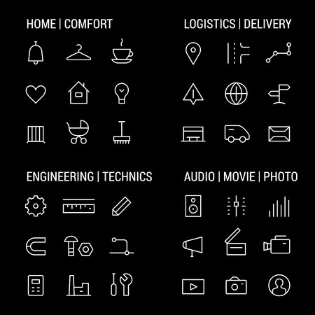 technics: Icons sets: home and comfot, logistics and delivery, engineering and technics, audio, movie, photo. Illustration