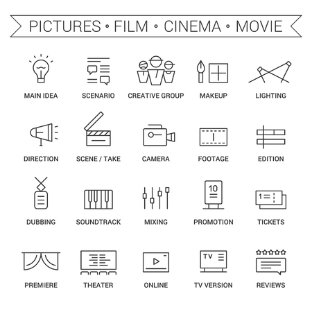 dubbing: Icons of movie, film, cinema, pictures area. Linear, black. Illustration