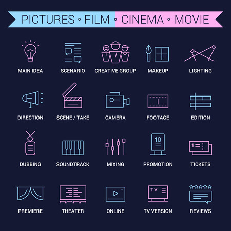 filming: Icons of movie, film, cinema, pictures area. Linear, pink and blue. Illustration