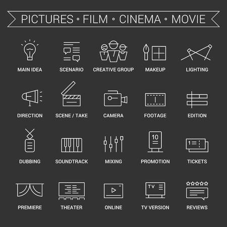 Icons of movie, film, cinema, pictures area. Linear, white. Ilustração Vetorial
