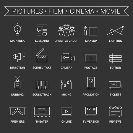 dubbing: Icons of movie, film, cinema, pictures area. Linear, white.
