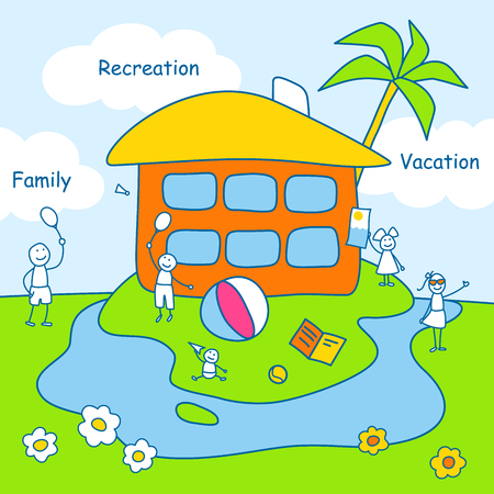recreation: Family stories: recreation and vacation. Linear, colored. Illustration