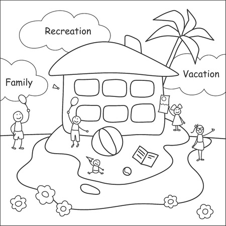 Family stories: recreation and vacation. Linear, black and white.