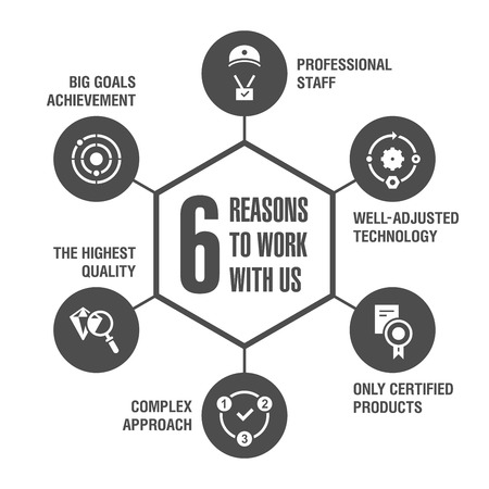 6 reasons to work with us. Infographics. Black.