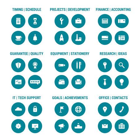 corporative: Icons set of corporative area. Color 1. Illustration
