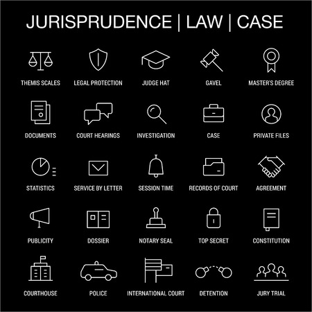 Jurisprudence. Law. Case. Icons set. Thin lines. White on black.