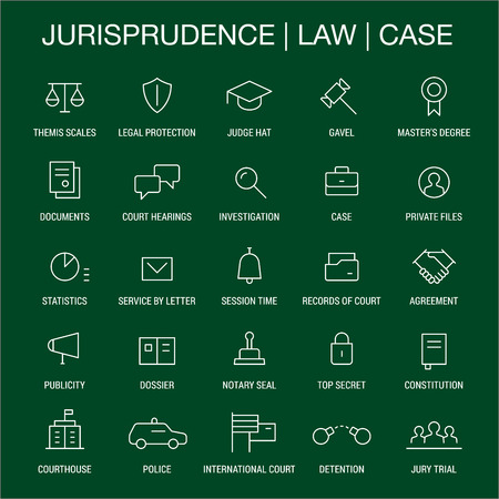 dossier: Jurisprudence. Law. Case. Icons set. Thin lines. White on green.