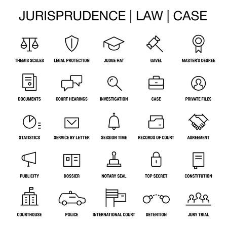 courthouse: Jurisprudence. Law. Case. Icons set. Thin lines. Black on white. Illustration