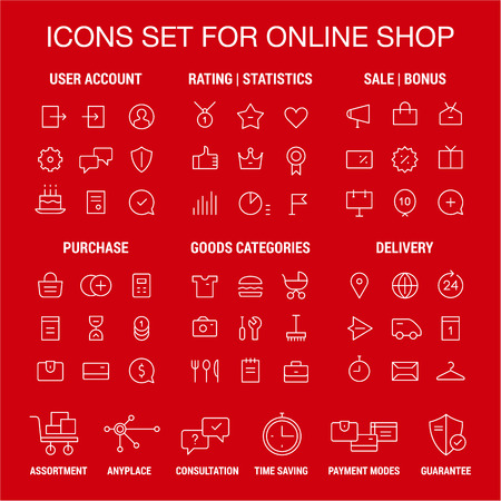 Icons set for online shop. Thin lines. White on red.