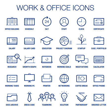 pc case: Icons set of working and office area. Thin and thick lines. Blue on white. Illustration