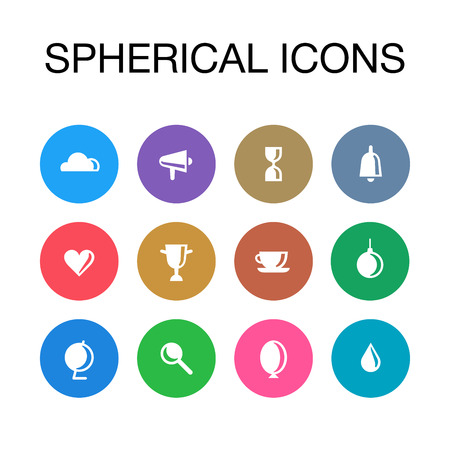Spherical icons set. White and color. In circles illustration. Illustration