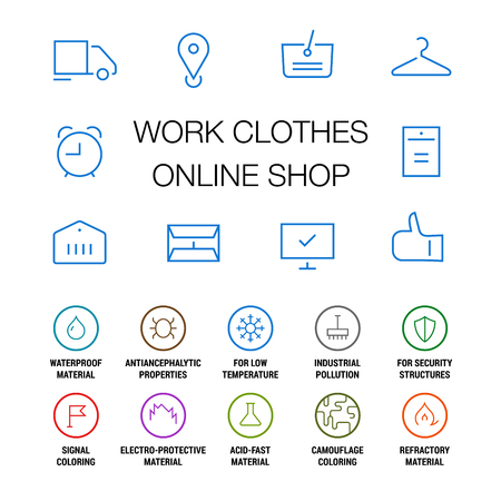 Icons set for work clothes online shop. Linear. Colored on white. Illustration
