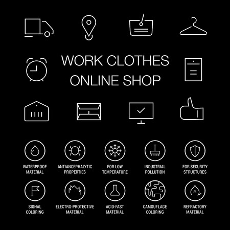Icons set for work clothes online shop. Linear. White on black.