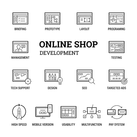Online shop development. Icons set. Thin and thik lines. Black on white.