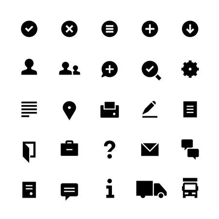25 Symbole für Webdienste. Gefüllt. Schwarz auf weiß. Vektorgrafik