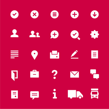 25 icons for web services. Filled. White on red.