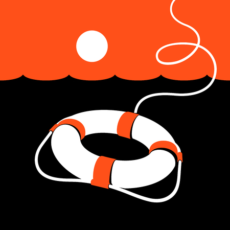 Ring lifebuoy and sea. Vector illustration. Black. White. Orange. v1. Illustration
