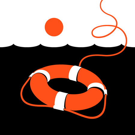 Ring lifebuoy and sea. Vector illustration. Black. White. Orange. v2.