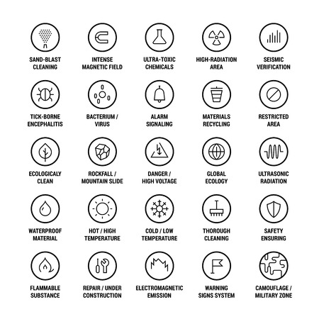 Safety. Ecology. Warning. Cleanliness. Icons set. Linear. Black on white.