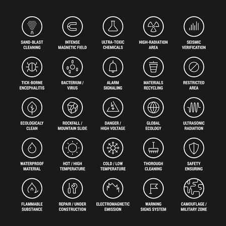 Safety. Ecology. Warning. Cleanliness. Icons set. Linear. White on black.