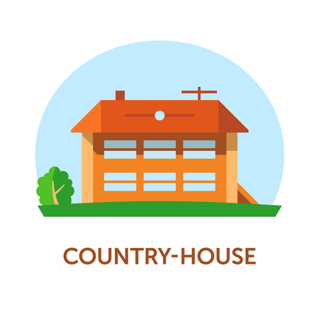 Country-house. Vector illustration with title. Flat. Color 1.