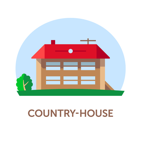 Country-house. Vector illustration with title. Flat. Color 2. Illustration