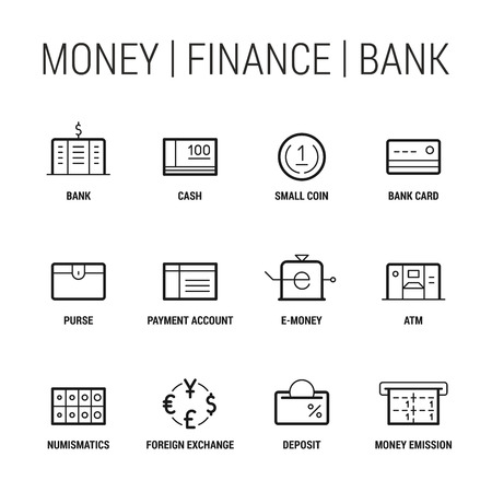Money. Finance. Bank. Icons set. Thin and thik lines. Black on white.