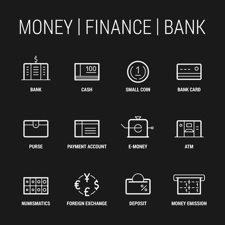 Money. Finance. Bank. Icons set. Thin and thik lines. White on black. Ilustração