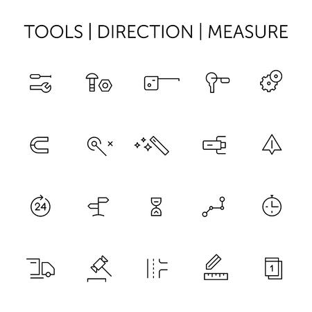 Werkzeuge. Richtung. Messen. Symbole gesetzt. Dünne Linien. Schwarz auf weiß.