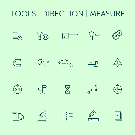 Tools. Direction. Measure. Icons set. Thin lines. Blue on green.