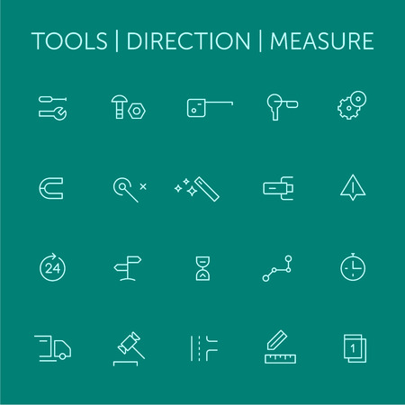 Tools. Direction. Measure. Icons set. Thin lines. Blue on green v2.