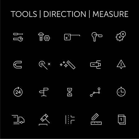 Tools. Direction. Measure. Icons set. Thin lines. White on black.