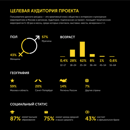 Targeted audience of online project. Infographics. In Russian. Yellow on black.